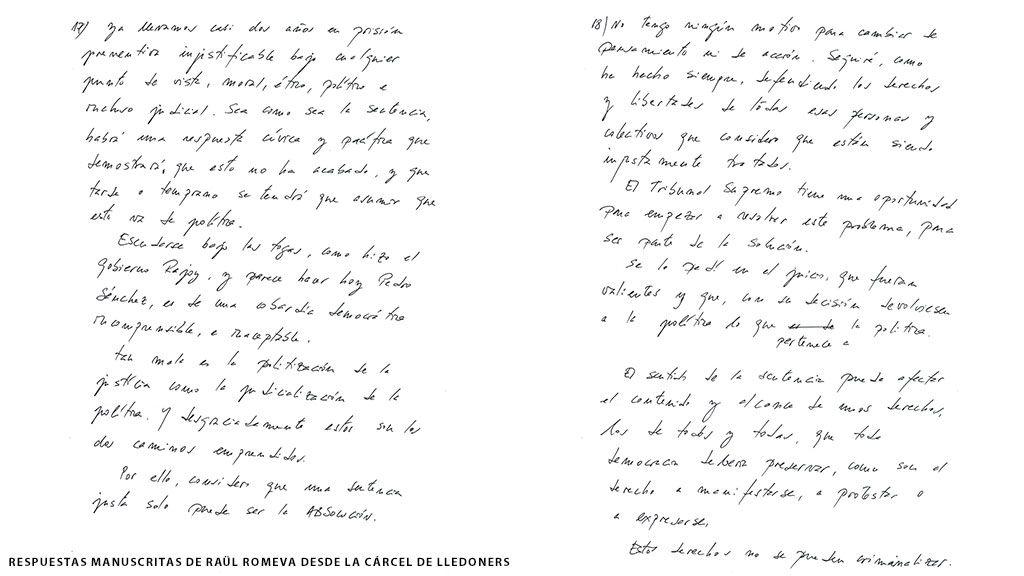 Respuestas manuscritas de Raül Romeva desde la cárcel de Lledoners