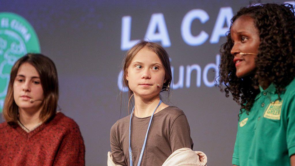 Rueda de prensa de la activista sueca Greta Thunberg junto a otros activistas de Fridays for Future en la Casa Encendida de Madrid