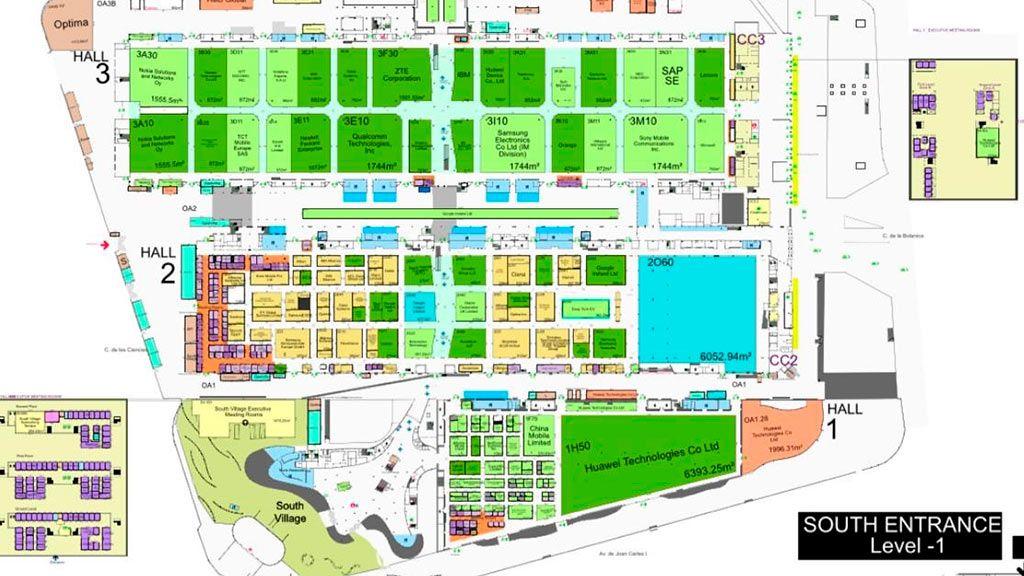 Plano de los pabellones del MWC 2020