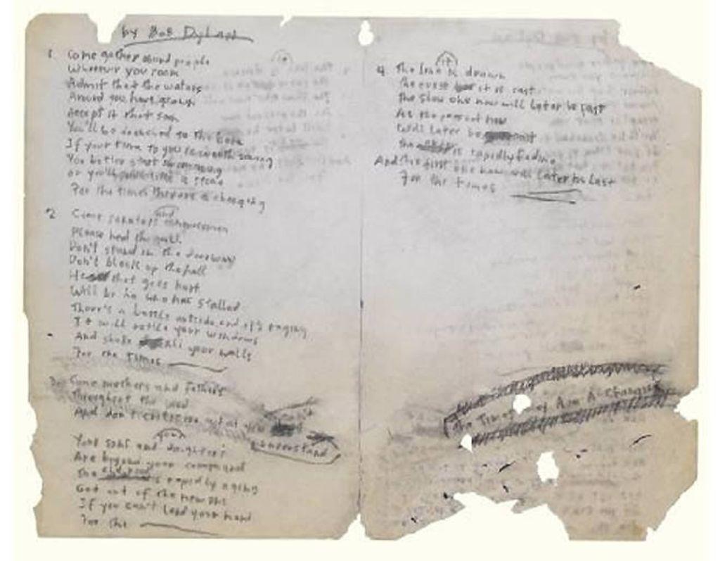 Canción manuscrita de Bob Dylan
