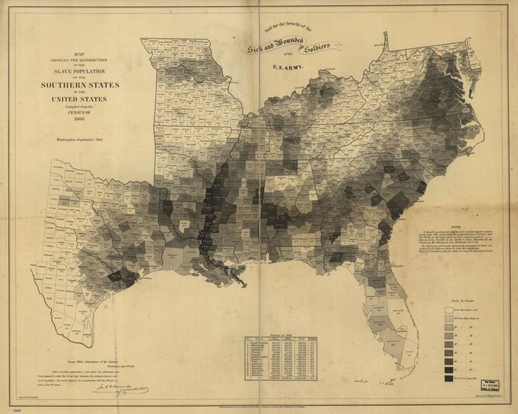 Mapa esclavos en EE.UU 1860