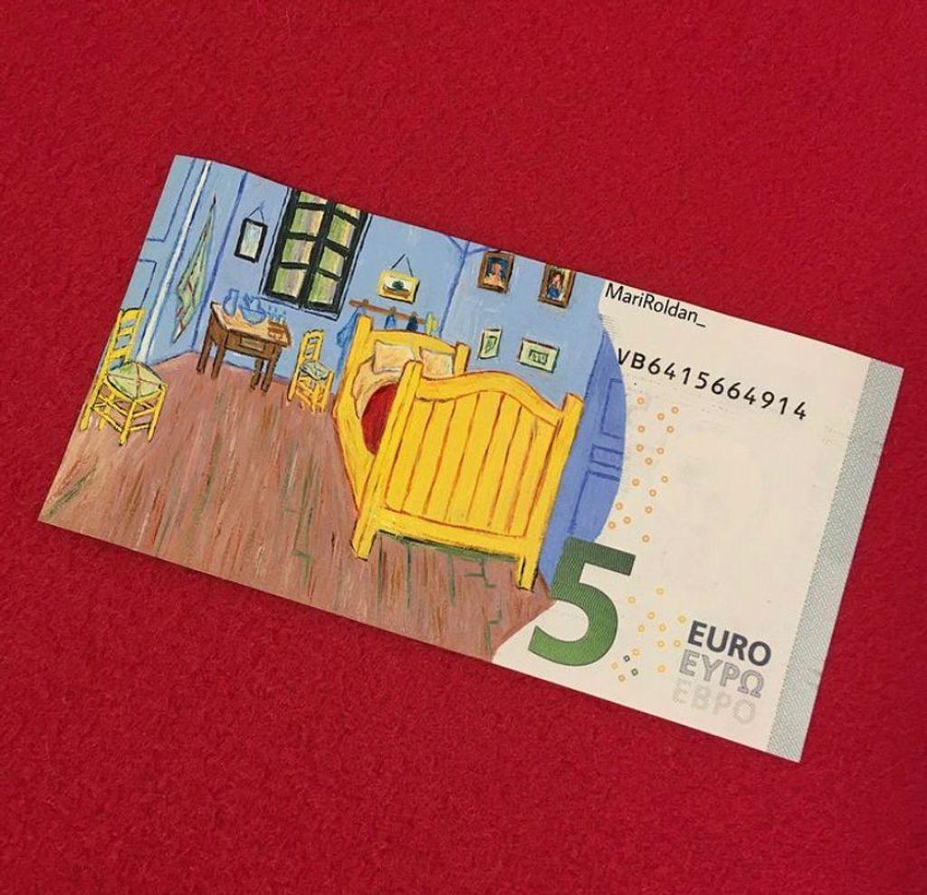 Billete de cinco euros homenaje a Van Gogh
