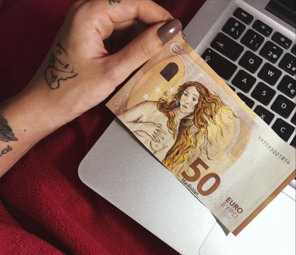 El nacimiento de Venus de Botticelli en billete de 50 euros