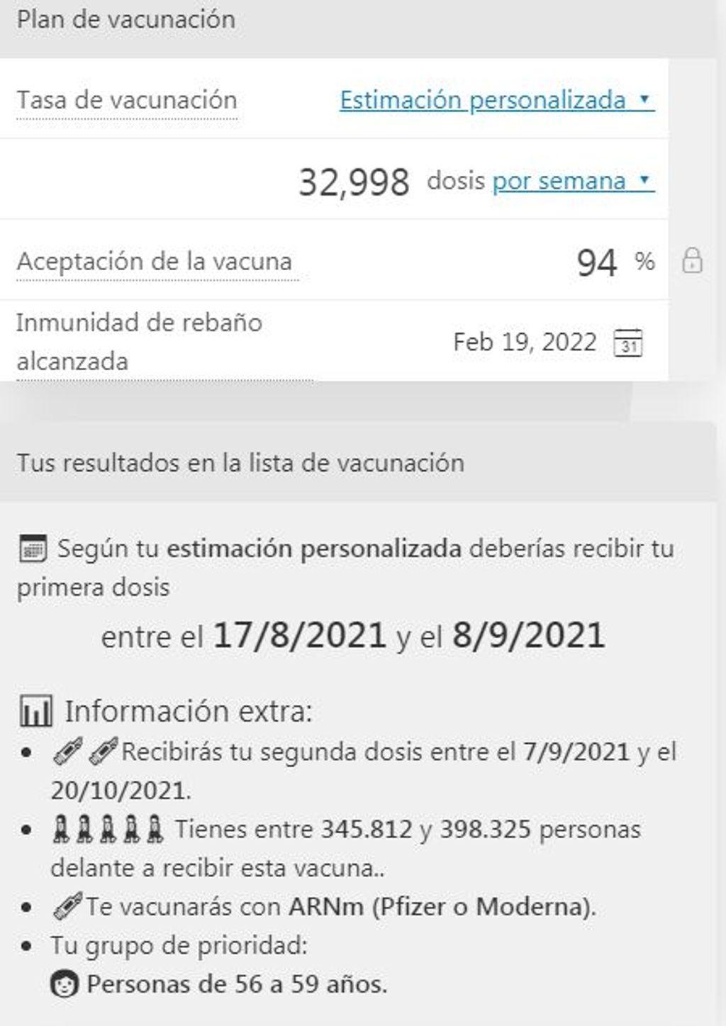 Calculadora de vacunación de un hombre de 57 años en Asturias.