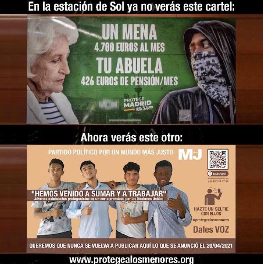 Un cartel contraataca el de VOX que criminalizaba a los menas