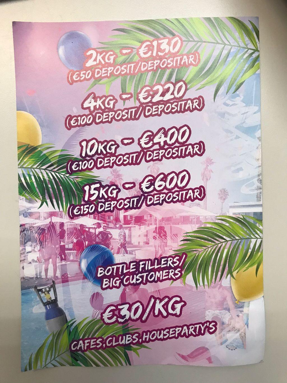 Los carteles intervenidos por la policía en los que anuncian los precios de las botellas del gas