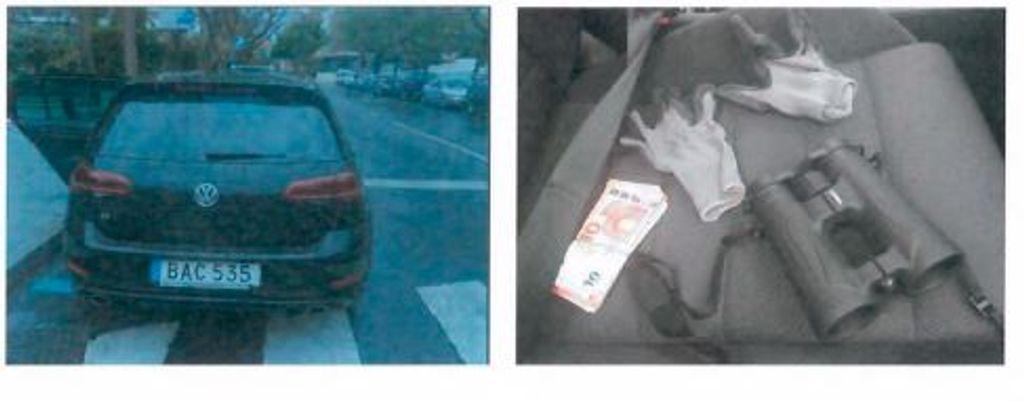 el coche y los guantes
