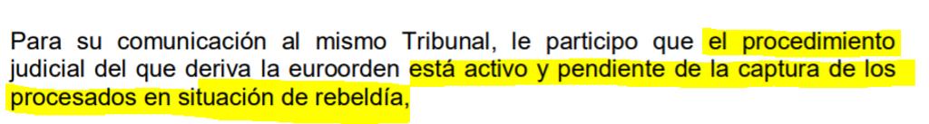 Extracto del oficio del juez Llarena a la justicia sarda