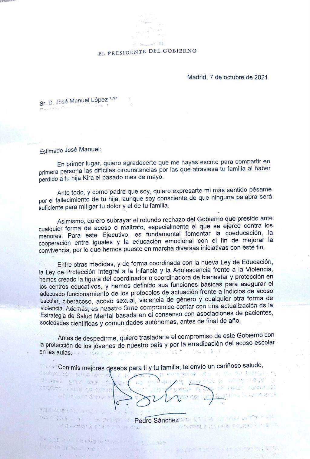 Carta Pedro Sánchez padres de Kira