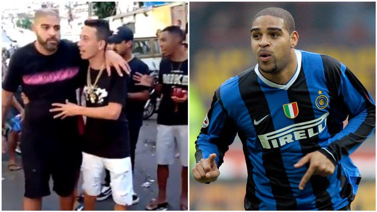 Adriano, durante su etapa en el Inter y en la fiesta ilegal en Brasil.