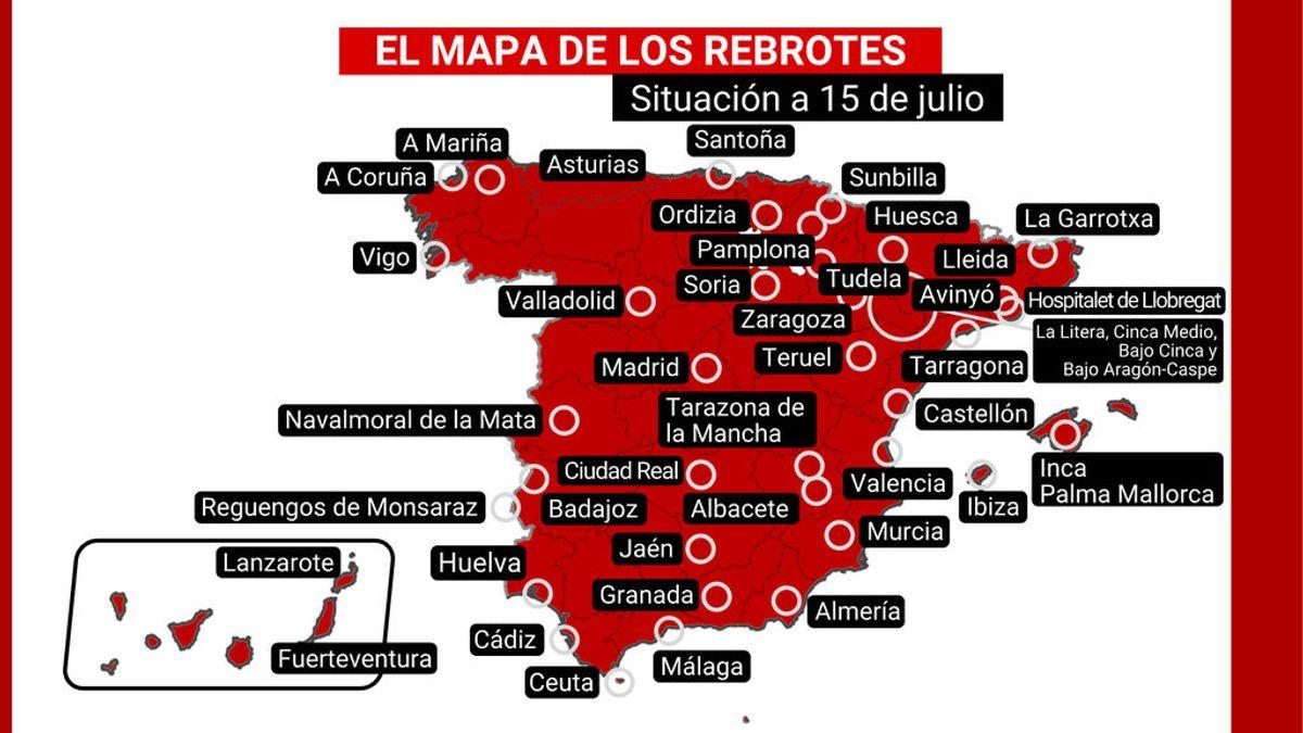 El mapa de los rebrotes en España