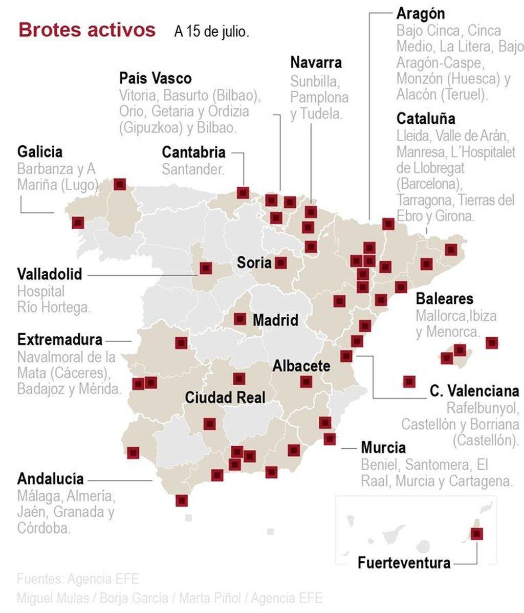 Rebrotes en todas las CCAA y contagios disparados: 390 con Cataluña y Aragón a la cabeza