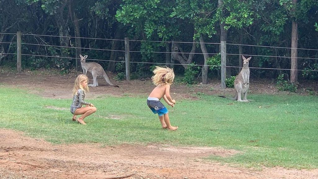 Los hijos de Elsa Pataky y Chris Hemsworth jugando con canguros