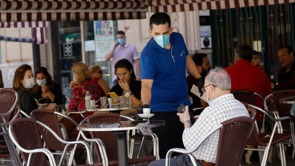 Una terraza en un local hostelero de Murcia