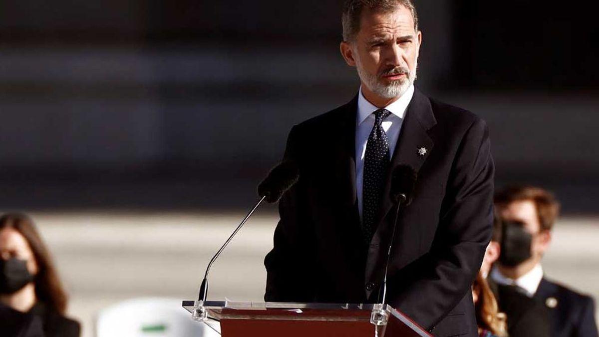 El rey Felipe VI, durante su discurso en el homenaje de Estado a las víctimas del coronavirus