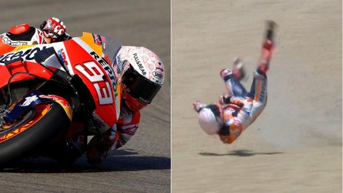 Marc Márquez no empieza con buen pie el campeonato: se cae en la carrera y tendrá que ser intervenido del húmero derecho