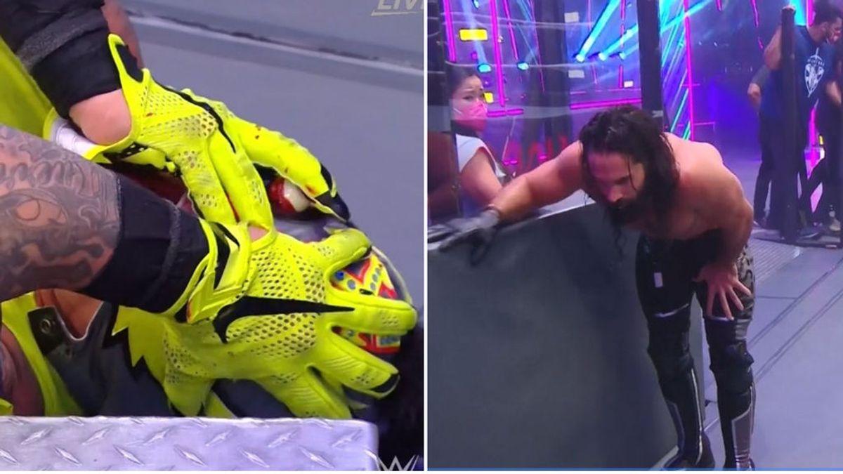 A Rey Mysterio se le sale el ojo en pleno combate y su rival, Seth Rollins, vomita al verlo