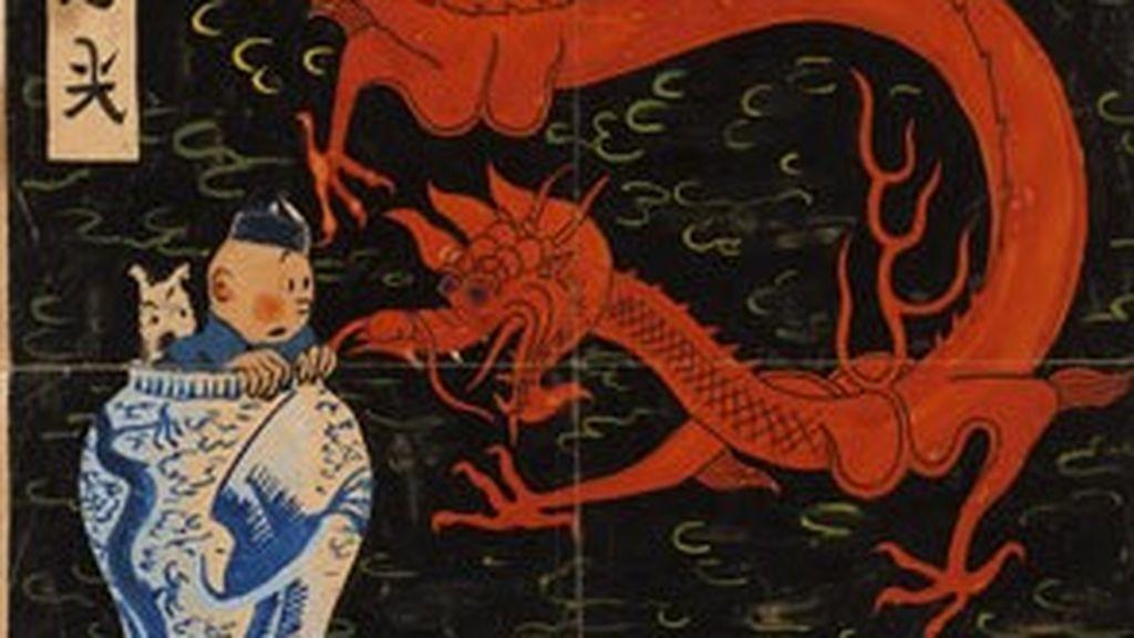La portada de 'El Loto Azul' de Tintín que nunca se publicó, en subasta en noviembre: podría alcanzar los 3 millones de euros
