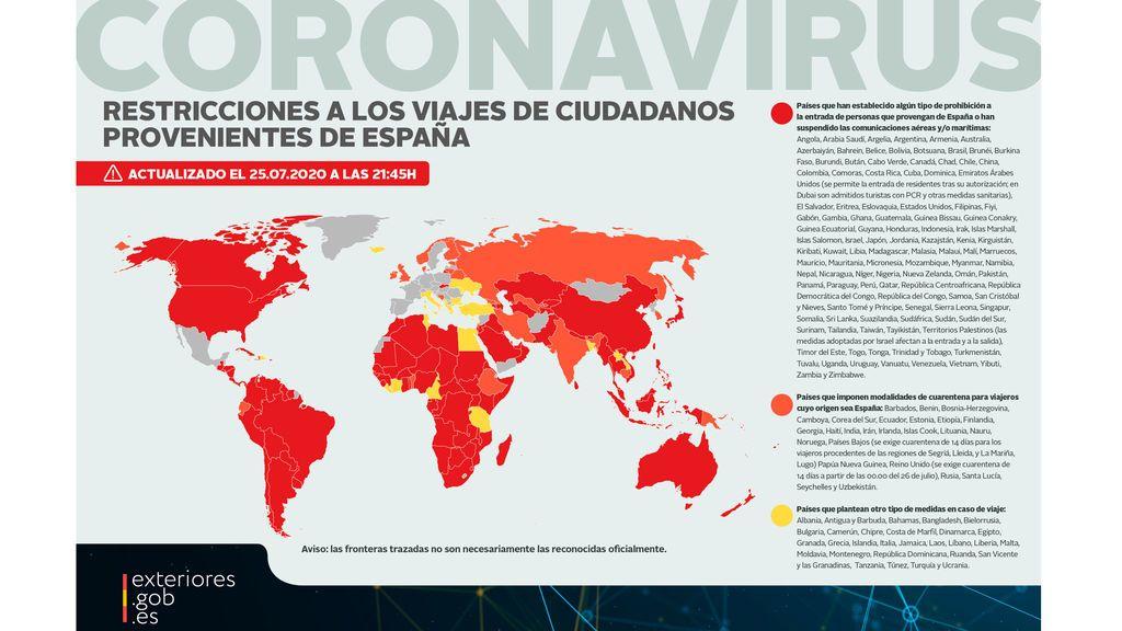 mapa países restricciones
