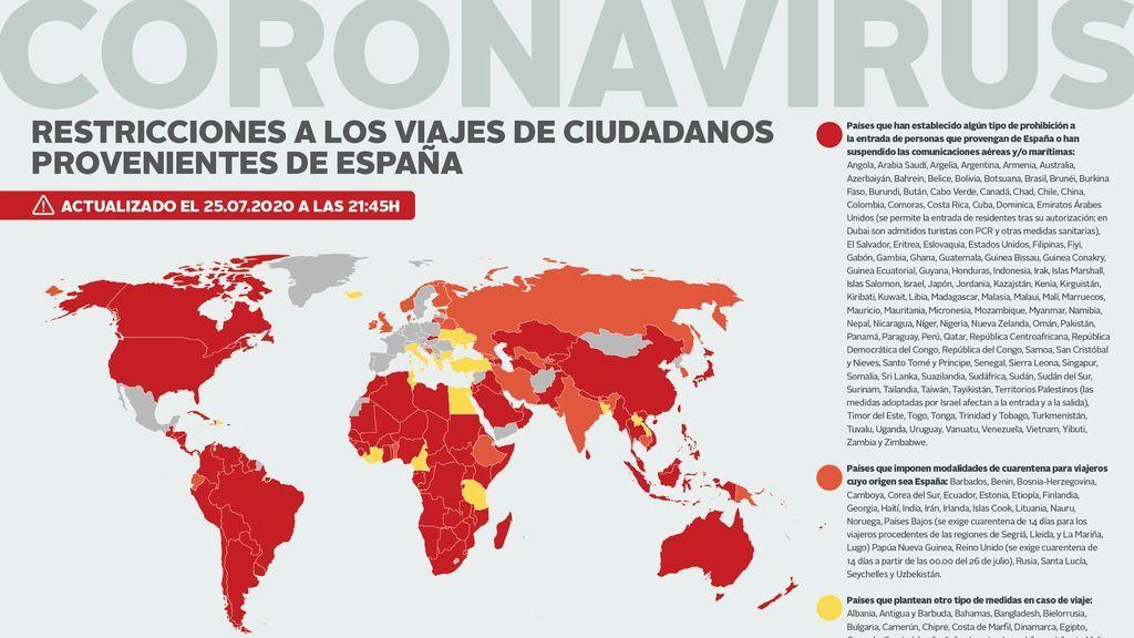 Exteriores actualiza su mapa de restricciones de viaje por la pandemia, incluyendo a Reino Unido