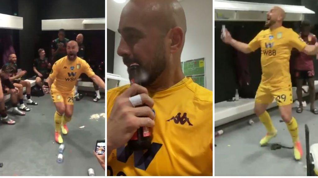 El show de Pepe Reina tras lograr la permanencia: abre cerveza con la boca y baila al ritmo de 'La Bamba'