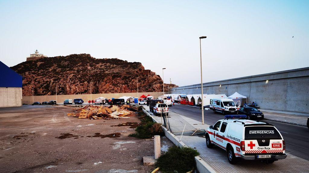 Zona habilitada en la Región de Murcia para acoger a los inmigrantes.