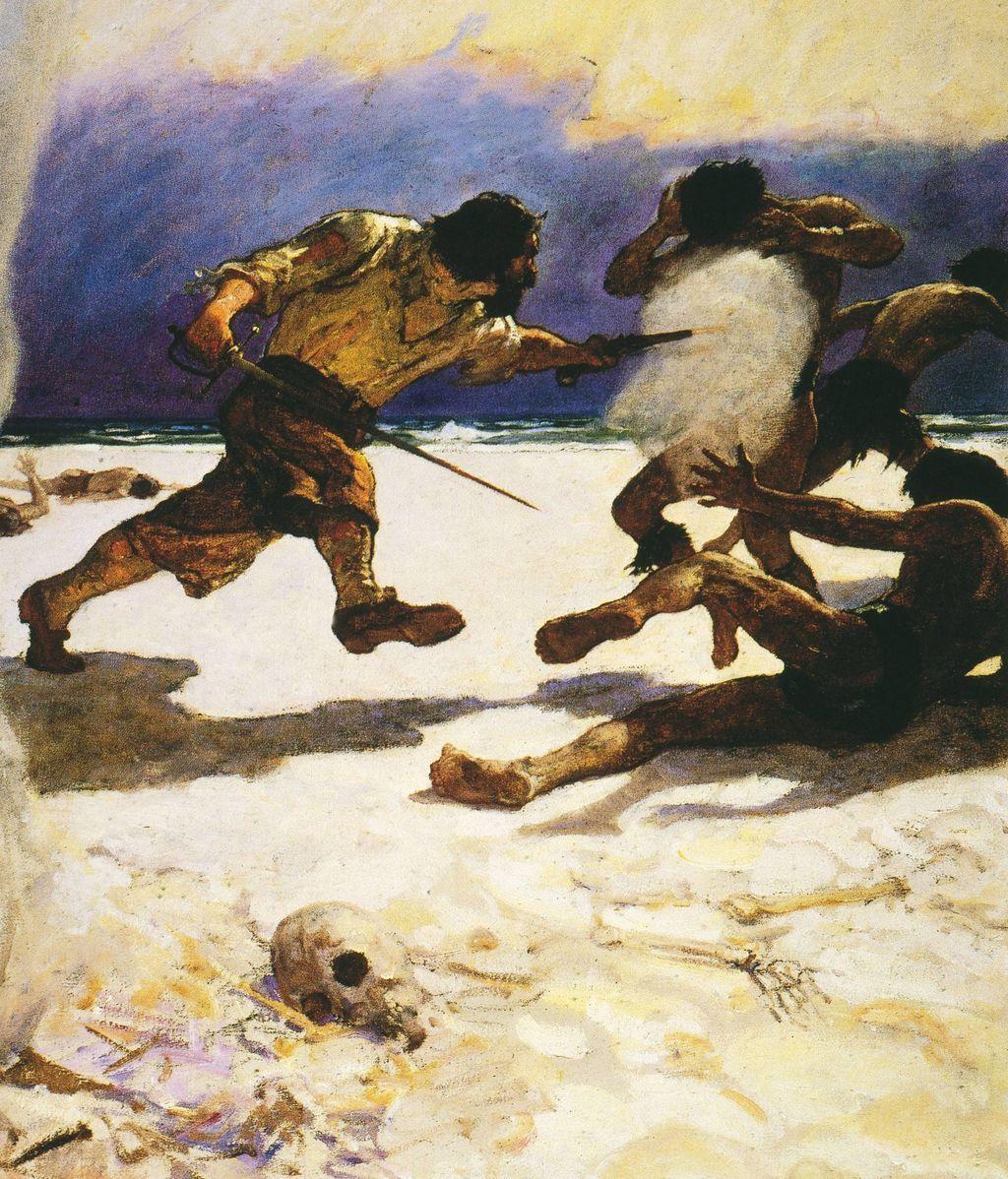 Una de las primeras portadas de Robinson Crusoe