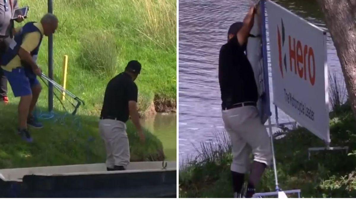 Un golfista envía la bola a una pequeña isla y tiene que coger un bote para poder realizar el siguiente golpe