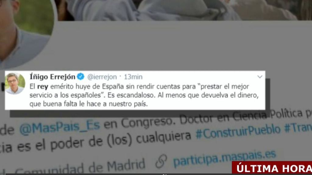 os políticos reaccionan a la decisión del Rey emérito de abandonar España