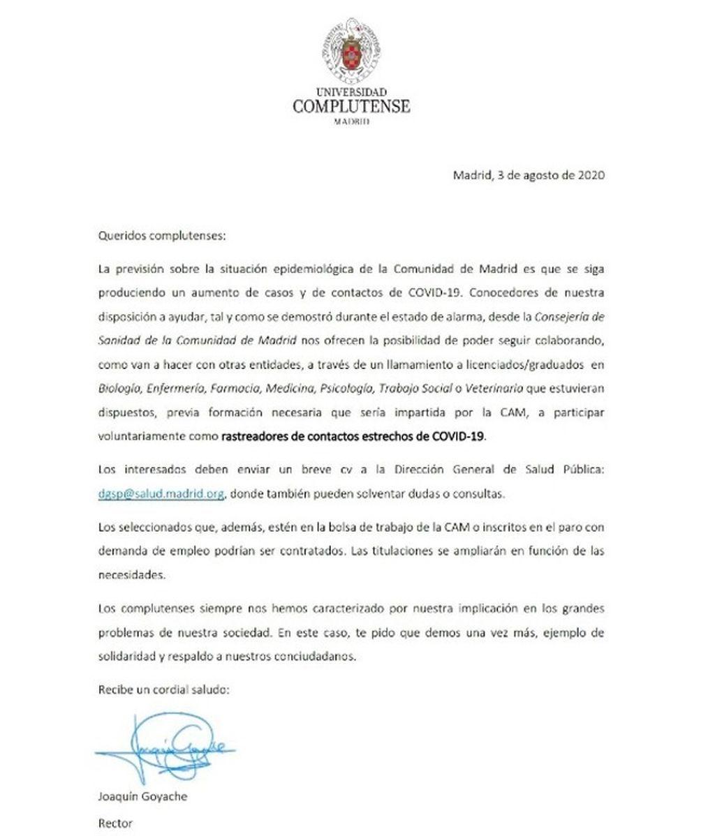 Madrid busca rastreadores voluntarios entre los estudiantes de la Complutense