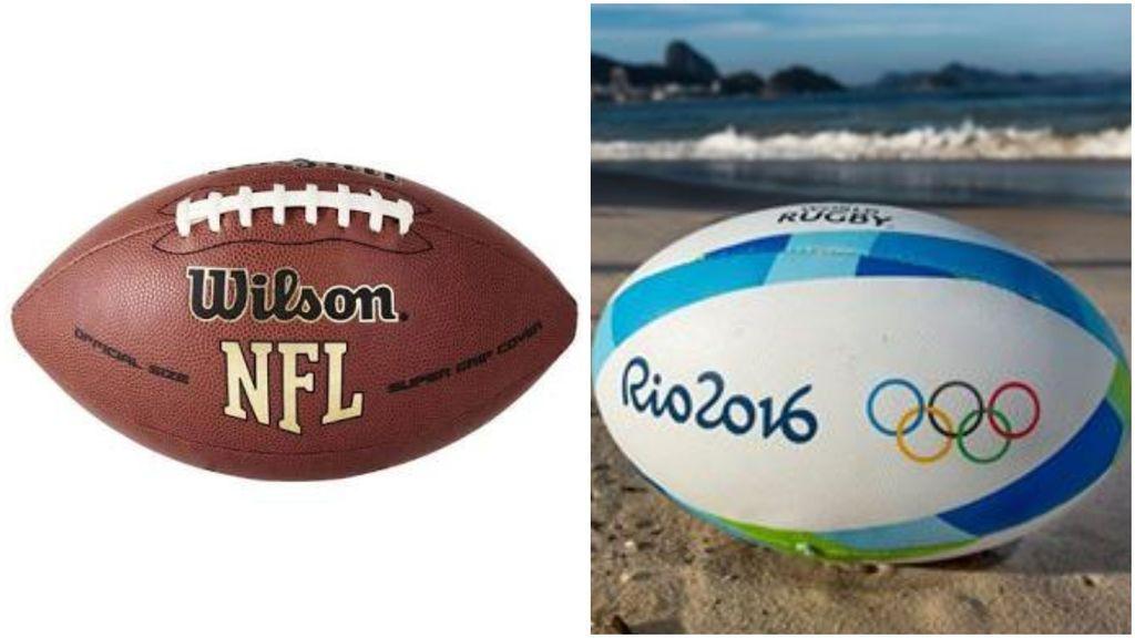 comparativa entre una pelota de rugby y un pelota de fútbol americano