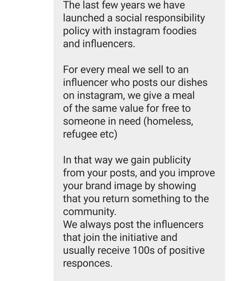 La respuesta del restaurante