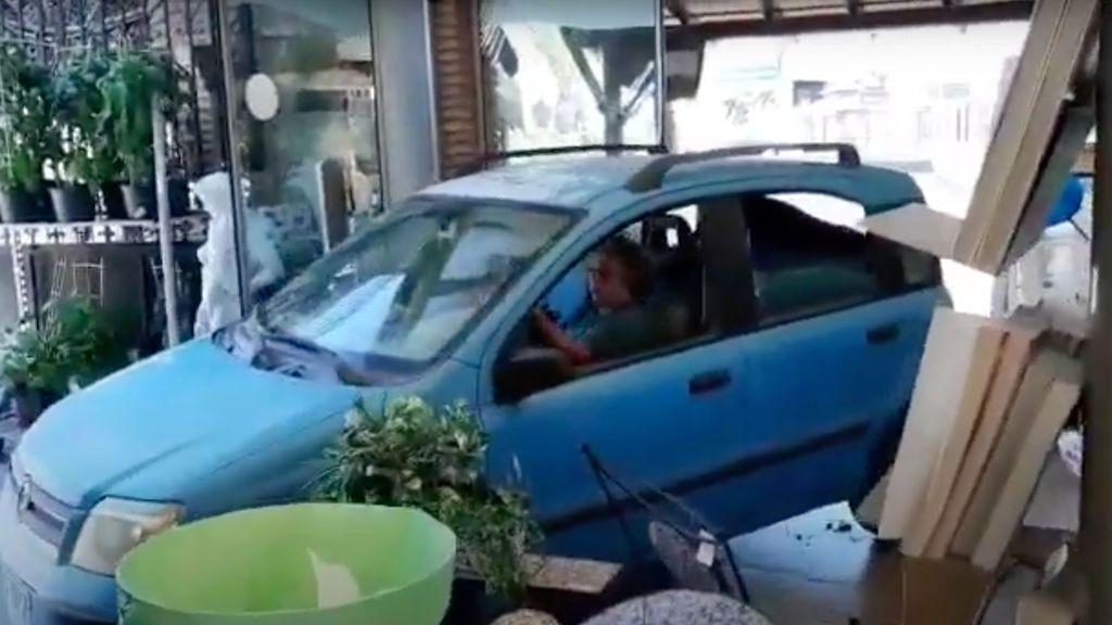 """Una mujer protesta por el """"maltrato"""" a las plantas estrellando su coche contra un vivero en Málaga"""