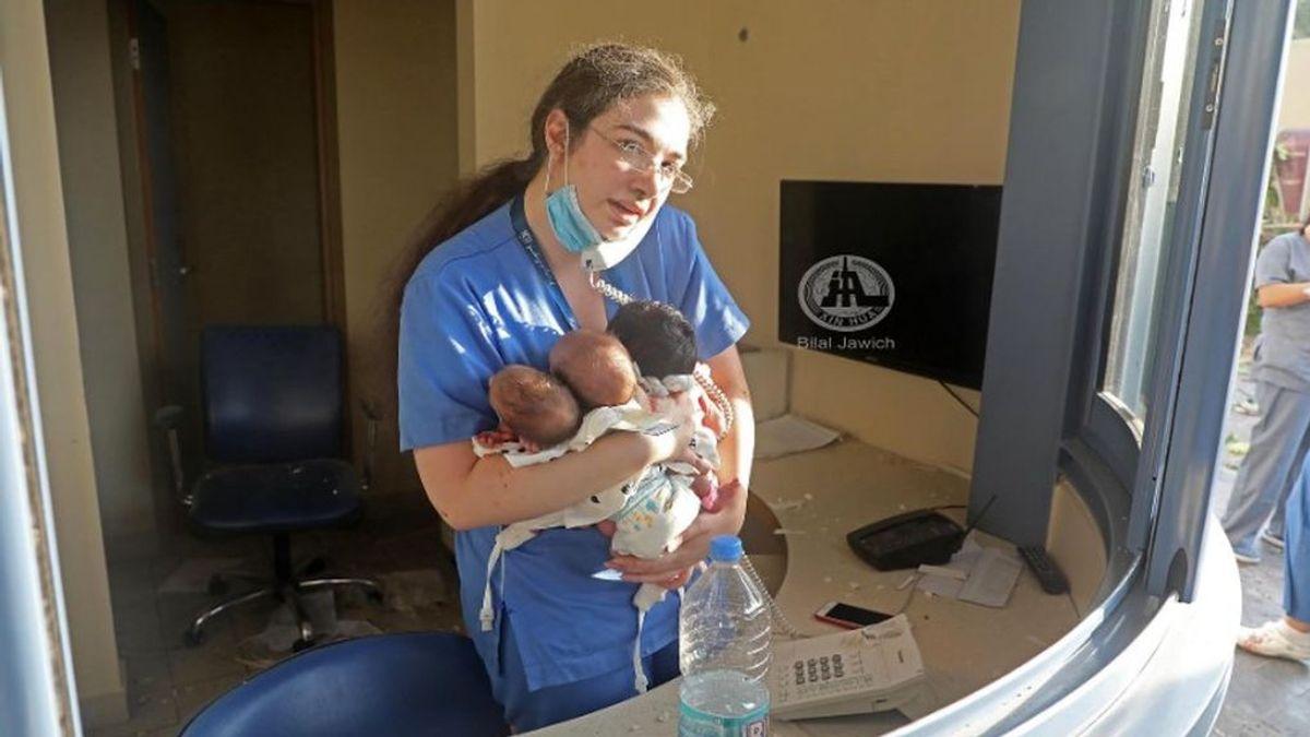 La enfermera heroína, que salvó a tres recién nacidos tras la explosión en Beirut