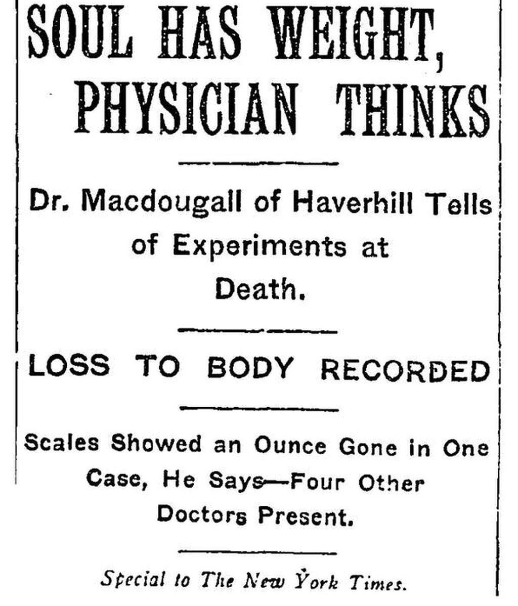 Artículo publicado en 1907 en el que se explicaba el 'experimento' de Macdougall