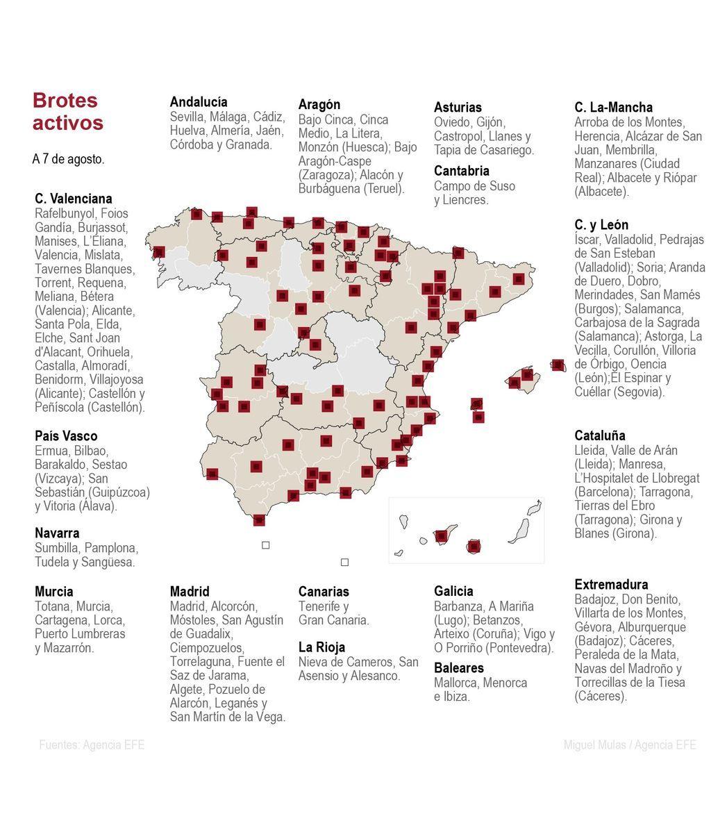 El mapa de España con los rebrotes
