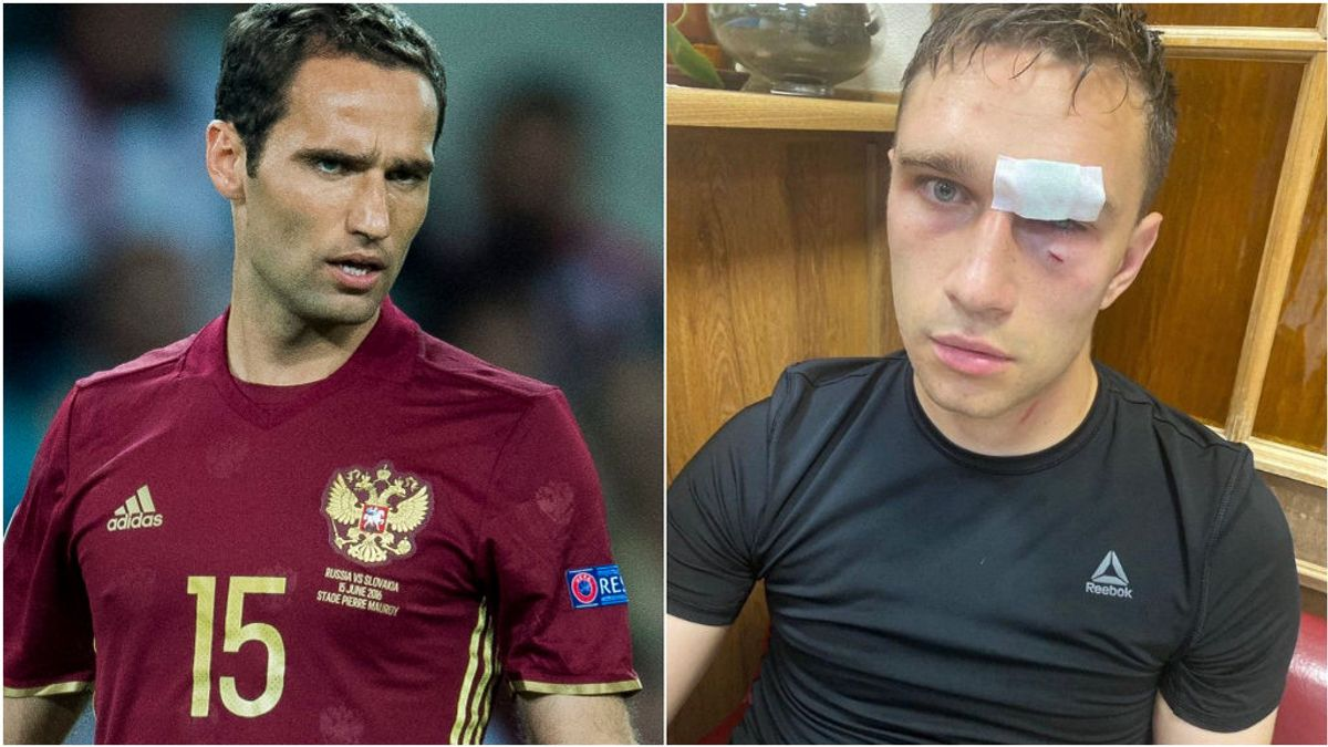 Shirokov y el árbitro tras ser agredido.