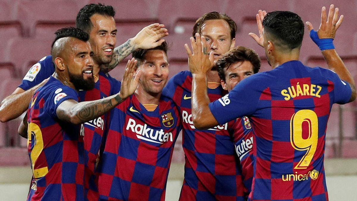 Messi celebra un gol con el Barcelona.