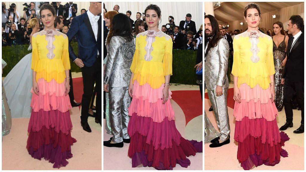 Para la Gala MET 2016 eligió un vestido 'arcoiris' de Gucci.