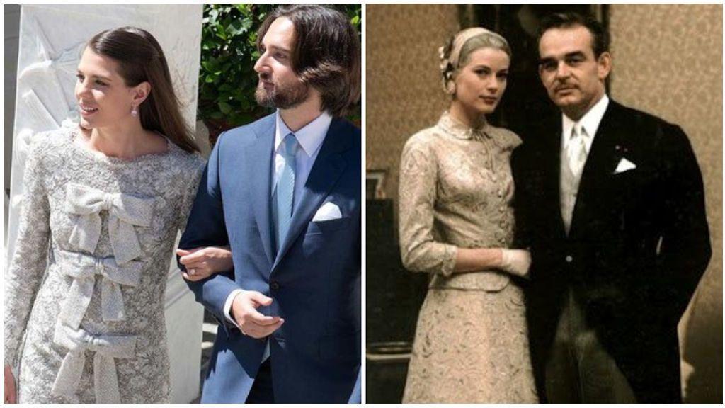 Para la ceremonia civil, Carlota eligió un vestido de Yves Saint Laurent, muy parecido al que lució su abuela Grace Kelly.