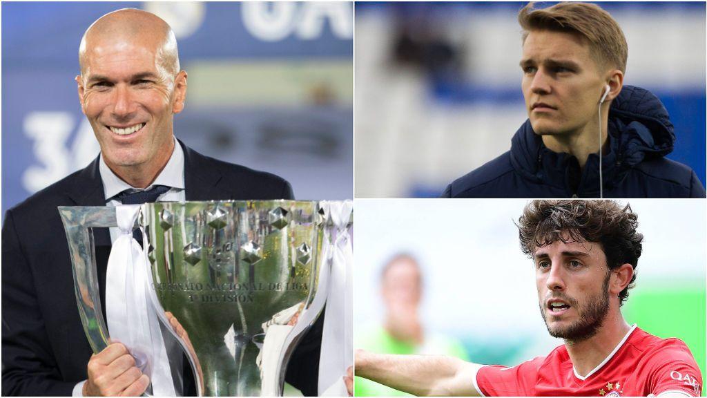 Zidane, junto a Odegaard y Odriozola.