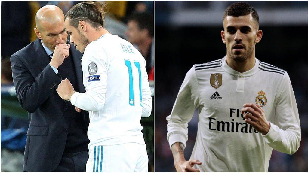 Zidane, hablando con Bale, y Dani Ceballos.
