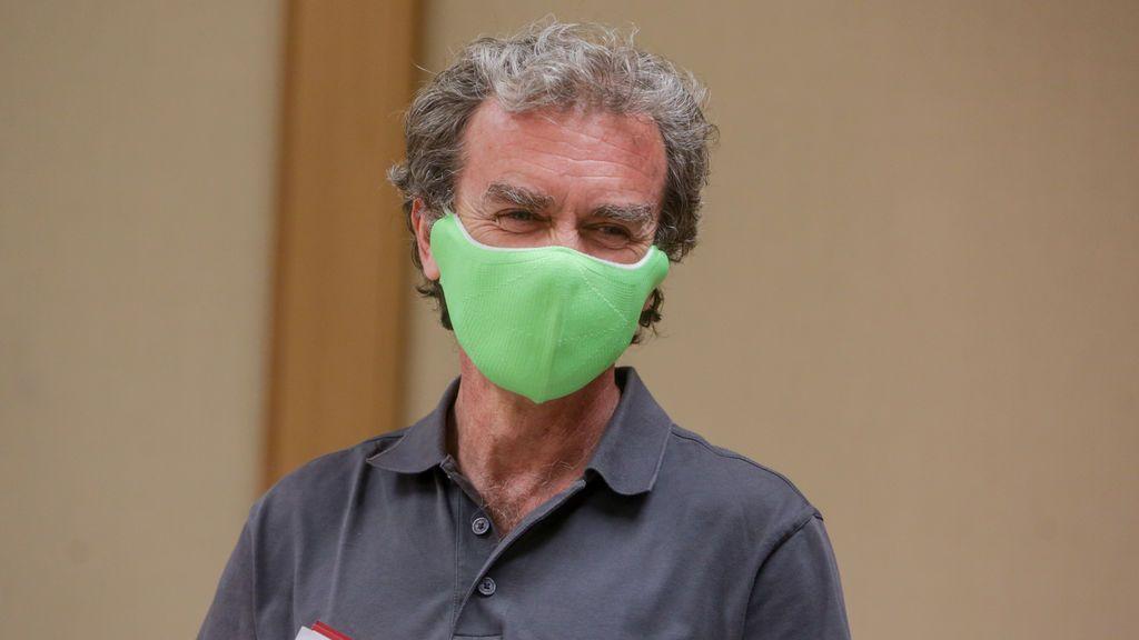 Fernando Simón con una mascarilla verde el pasado 13 de julio