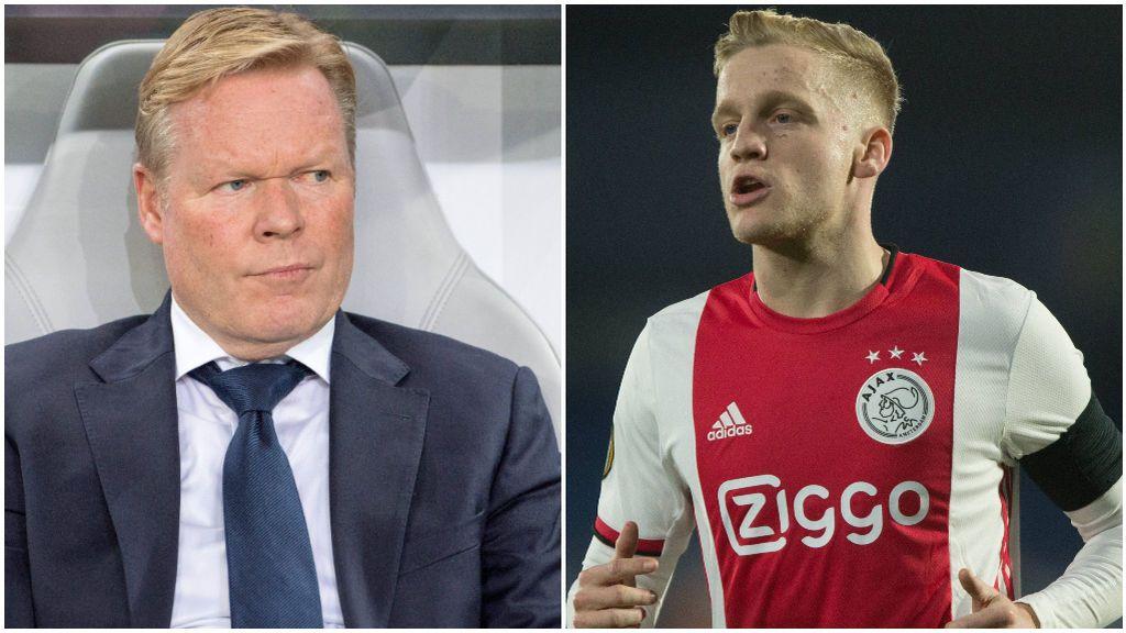 Ronald Koeman, en el banquillo, y Van de Beek, en un partido con el Ajax.