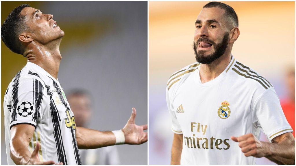 Cristiano Ronaldo, con la Juventus, y Benzema, con el Real Madrid.