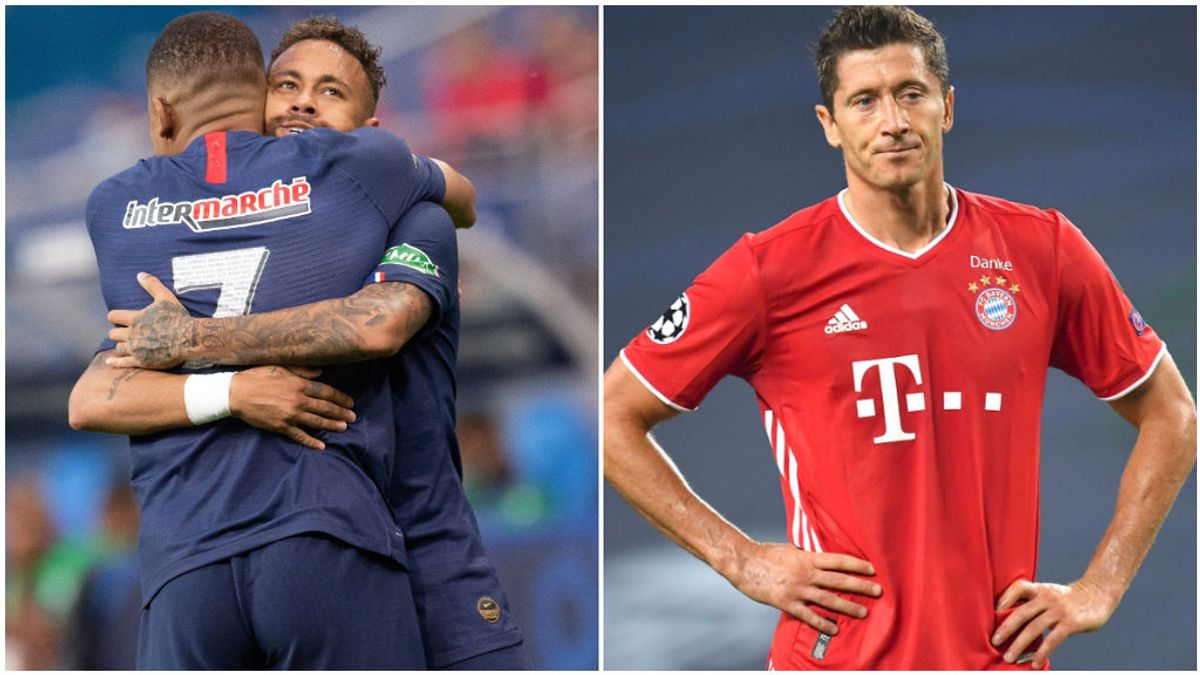 Neymar abraza a Mbappé, y Lewandowski, en las semifinales de la Champions.