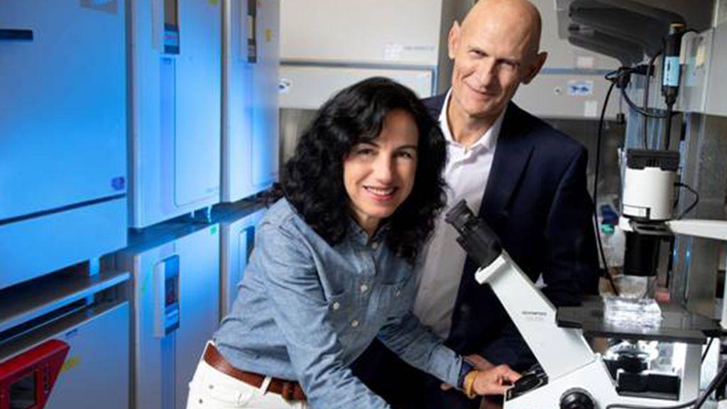 Concepción Rodríguez Esteban y Juan Carlos Izpisúa en su laboratorio del Instituto Salk de California.