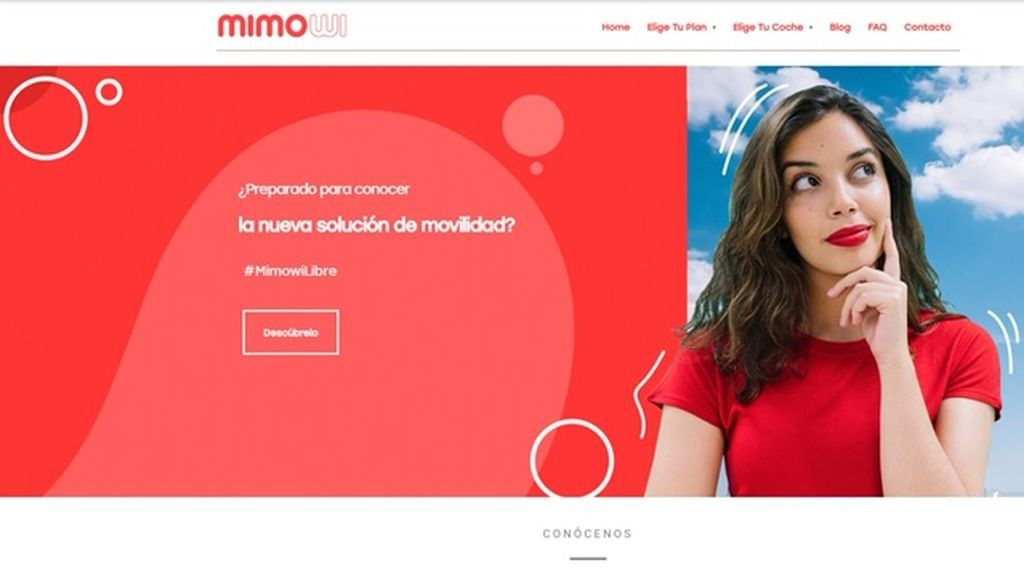 Página del servicio de coches por suscripción MIMOWI