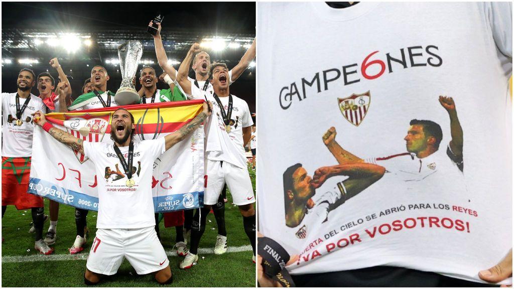 """El Sevilla no se olvida ni de Puerta ni de Reyes en su celebración: """"La Puerta del cielo se abrió para los Reyes"""""""