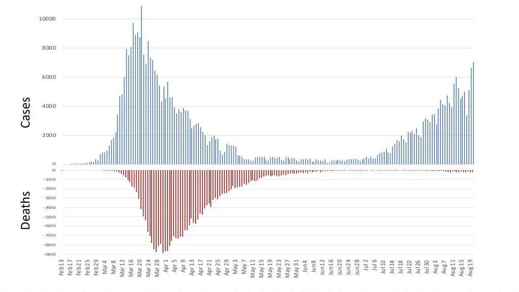 Comparativa de la evolución de contagios y muertes durante la pandemia en España